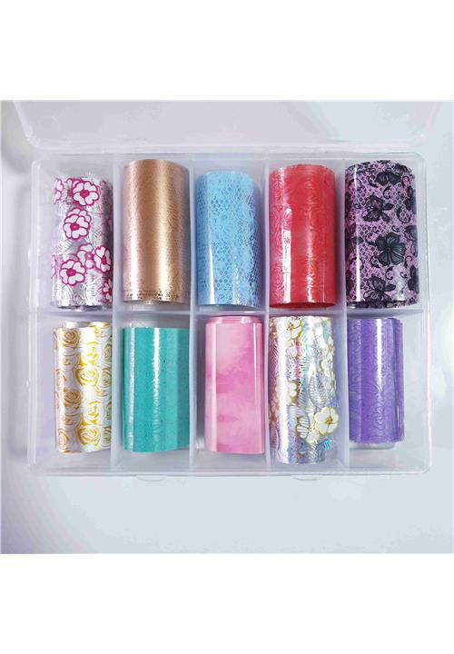 LACEY MIX TRANSFER FOILS BOX (10 DIFFERENT STRIPS)