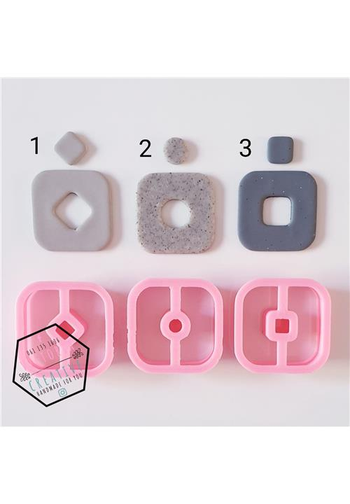 SQUARE DUAL POLYMER CLAY CUTTERS