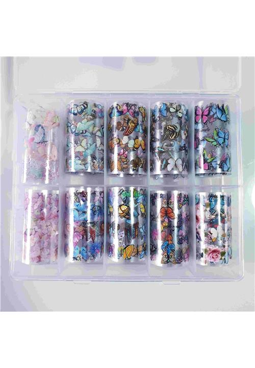 BUTTERFLY TRANSFER FOIL BOX (10 DIFFERENT STRIPS)