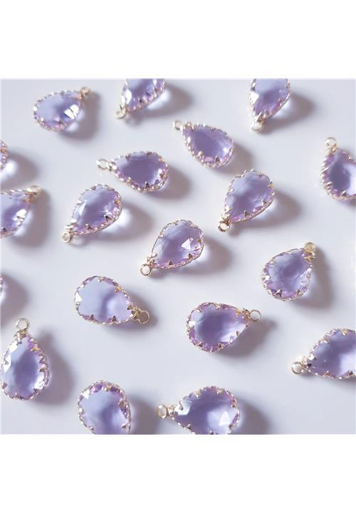 LIGHT LILAC CRYSTAL TEARDROP WITH NICKEL FREE GOLD FINDINGS